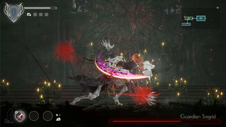 Ender Lilies - Lily attacking a boss called Guardian Siegrid with the sword slashing skill of one of her spirits.