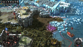 A screenshot of a patch of coastal land in Endless Legend. Cliffs overlook a city in the south, while the landscape turns frozen in the north.