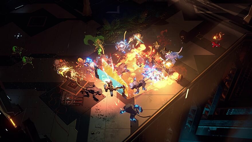 A screenshot of Endless Dungeon showing a futuristic environment from an isometric perspective. At the centre of the image is a melee between players and many monsters, with fire and smoke and magic effects illuminating the scene.