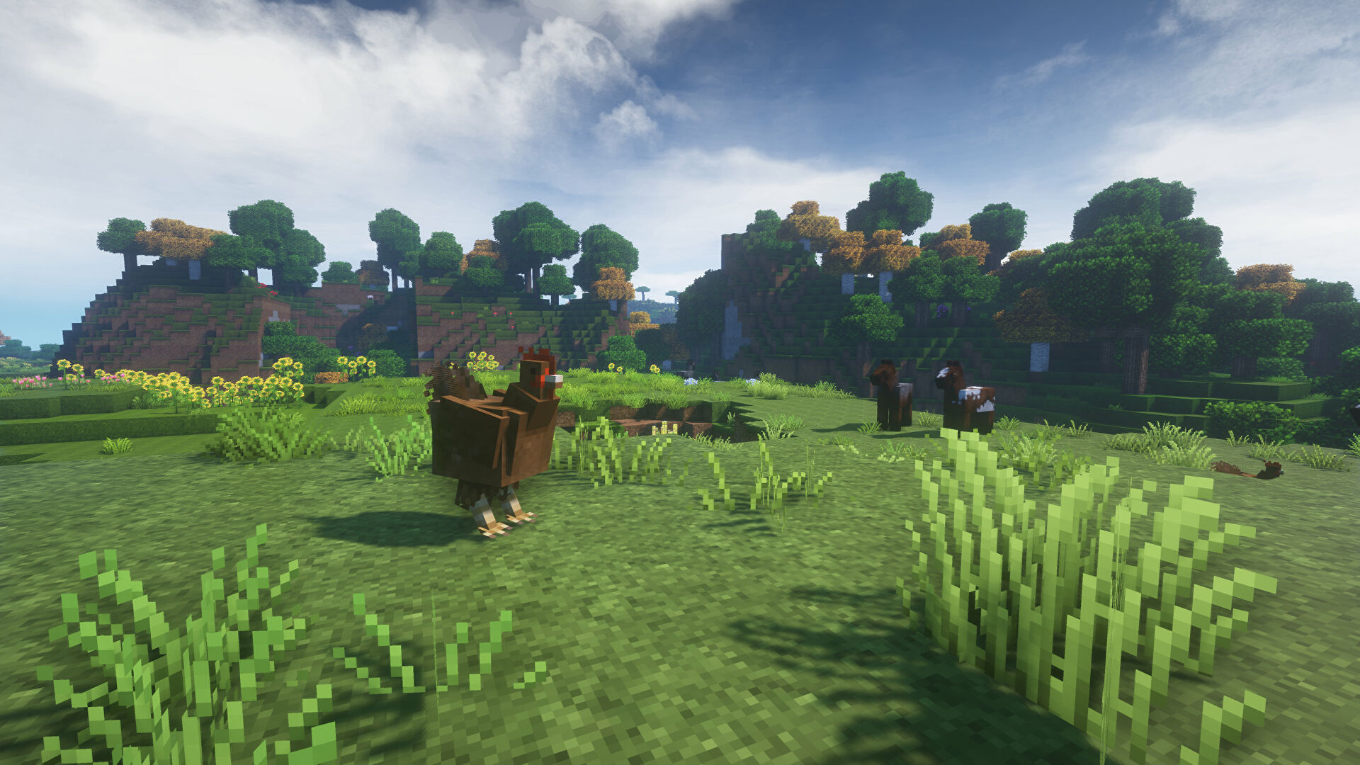 A Minecraft screenshot of a landscape displayed using the Jicklus Texture Pack.