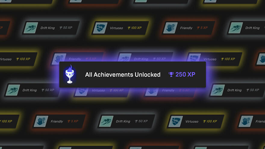 """Epic Games Store achievements header image  showing different game achievements and XP values. """"All Achievements Unlocked"""" in the center is worth 250 XP."""
