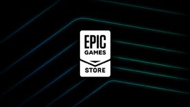 Epic Games Store logo on a black background with glowing, angled lines.