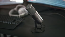 The EPOS B20 microphone on a gaming desk