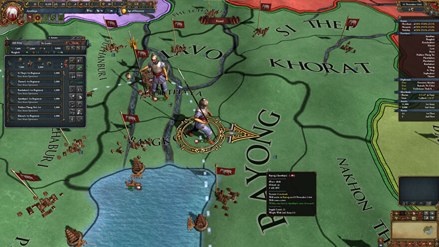A screenshot of Europa Universalis IV's Leviathan DLC, showing a map in green with a soldier walking across it. The DLC was released with major bugs and to terrible reviews.