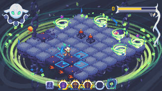 A screenshot of Evertried, showing an isometric pixel art grid surrounded by a green swirl, several small green tornadoes, and a scythe-wielding protagonist who looks cross.