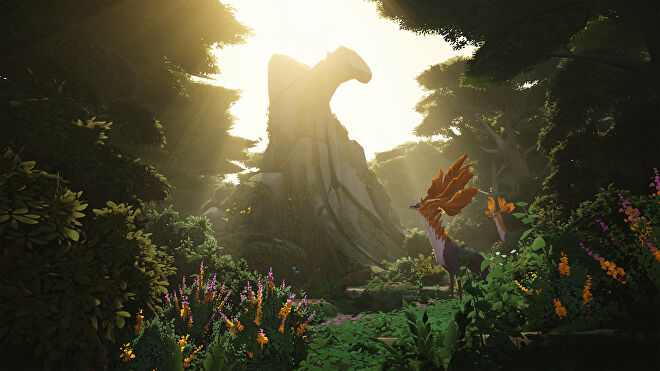 A woodland clearing with a giant rock spire in an Everwild screenshot.