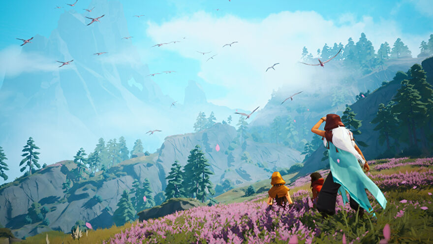 The key art for Everwild, showing three people in a floral meadow looking towards distant mountains.