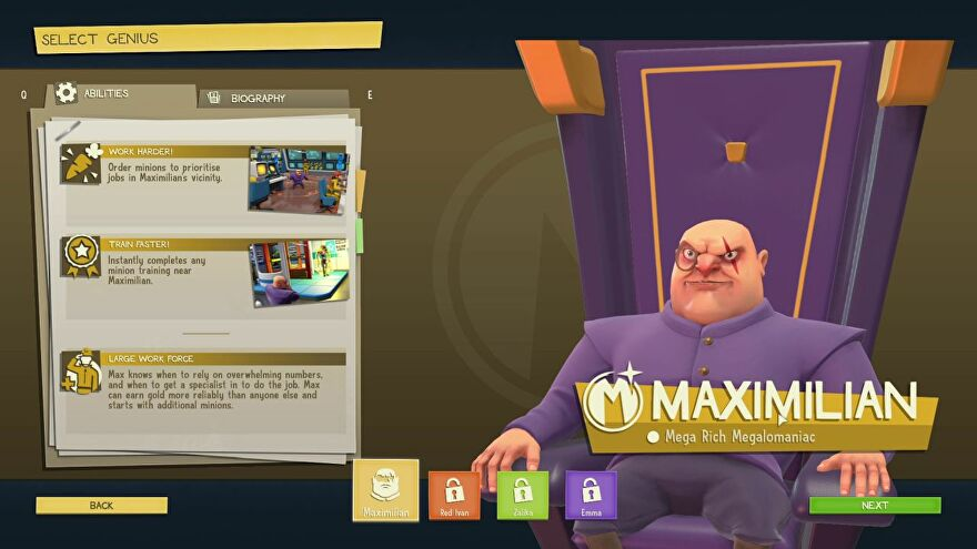 The character select screen at the start of Evil Genius 2, showing Maximillian, a bald, short, squat man in a purple suit. He's sitting in a big purple chair, looking cartoonishly evil.