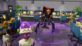 Emma, one of the villain's from Evil Genius 2 who rides a scary spider chair.