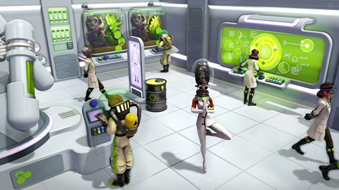 A gaggle of scientists in Evil Genius 2, they're wearing lab coats and looking at freaky green fluids.