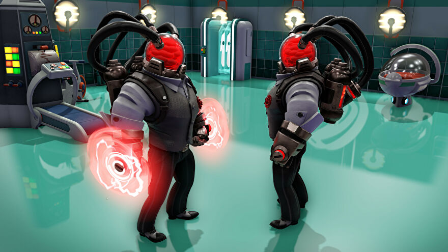 A screenshot of Evil Genius 2's Cabal Pack, showing new super agent Espectro who wears a waistcoat, has big muscles, and has a head that's a glass bowl filled with red mist.