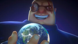 Maximilian from Evil Genius 2: World Domination laughing while holding a little ornament in his hands that looks like Earth