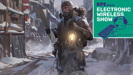 A screenshot of art for Frostpunk showing a man, heavily wrapped up against the cold, standing in a snowy street and holding a lantern. The Electronic Wireless Show Podcast is superimposed on the top right of the image.