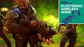 A screenshot showing two burly soldiers, one masculine and one feminine, holding big weapons and backlit by a green explosion. The Electronic Wireless Show logo is in the top right corner