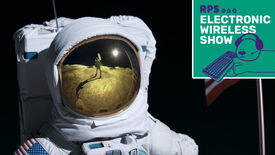 A headshot of an astronaut on the moon; the green Electronic Wireless Show podcast logo is in the top right corner