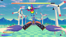 A screenshot of Ex-Zodiac showing a ship flying towards a large lobster-like boss enemy, flanked on both sides by wind turbines, in a retro 3D style.
