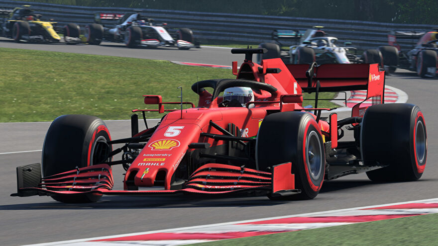 Cars racing in an F1 2020 screenshot.