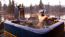 A man sits in a hot tub with two drink cannisters attached to his head in Fallout76
