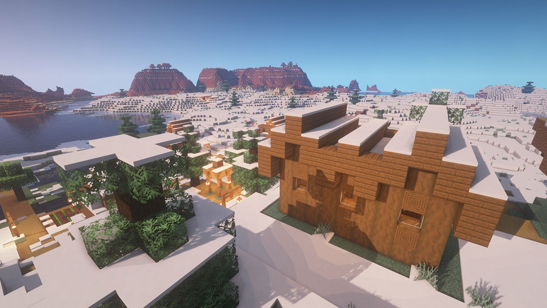 A Minecraft screenshot of a landscape displayed using the Quadral Texture Pack.