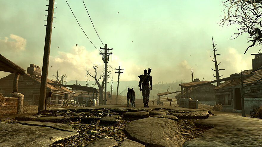 Hanging out with Dogmeat in a Fallout 3 screenshot.