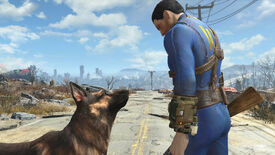A man and his dog in a Fallout 4 screenshot.