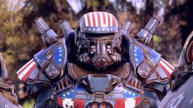 Fallout 76 - A character wearing power armor with an American flag paint job