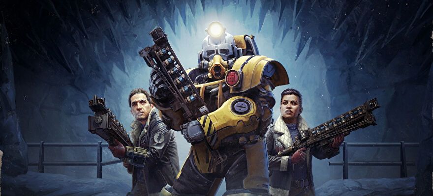 A painted image for Fallout 76's Locked & Loaded update showing a character in power armour holding a big gun flanked on both sides by people carrying big guns.