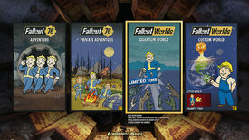 An image of Fallout 76's menu for accessing the new Worlds.