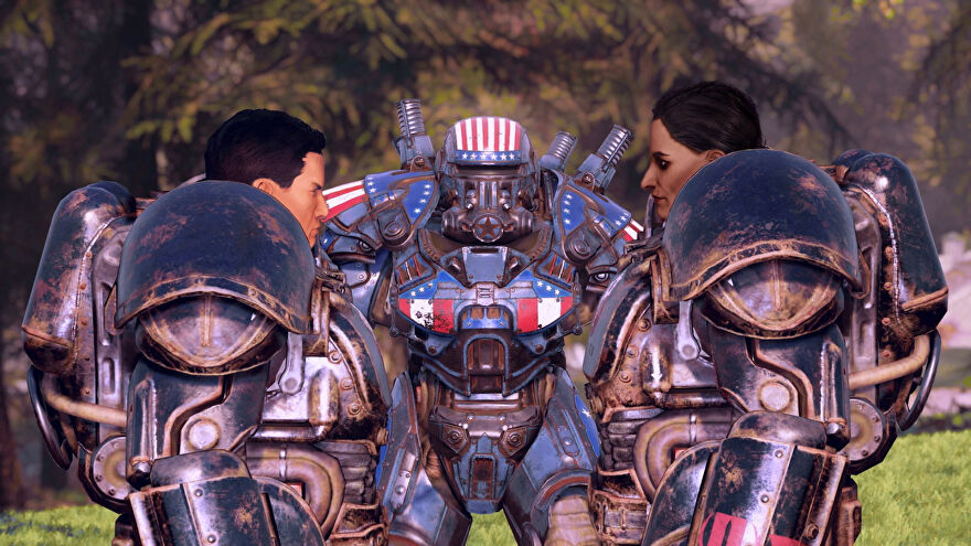 Some Brotherhood of Steel folks standing around in their red, white and blue power armour.