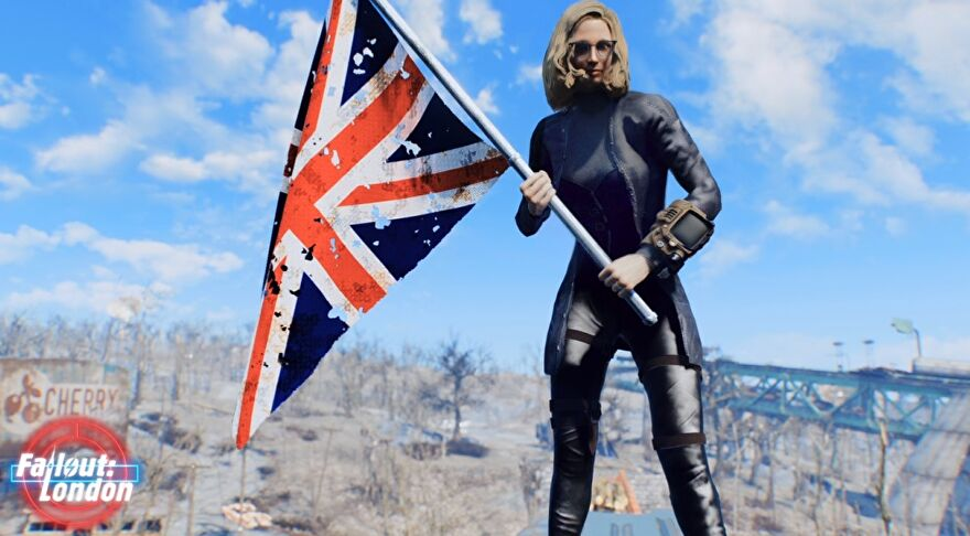Fallout London mod - a modded Fallout 4 character with blonde hair and sunglasses and a Pip-Boy holds an British flag.
