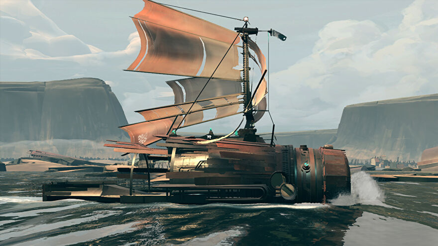 Your scrappy sailboat in Far: Changing Tides.