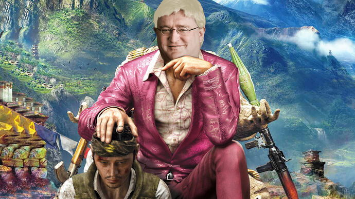 Pagan Min from Far Cry 4 sitting in a chair with the face of Gabe Newell