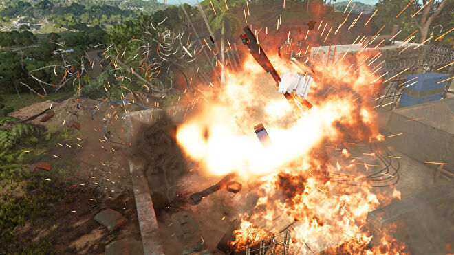An Anti-Aircraft Cannon exploding in Far Cry 6.