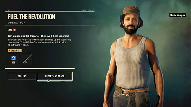 Far Cry 6: the initial screen for the quest Fuel The Revolution, with Benito on the right-hand side of the screen explaining the mission.