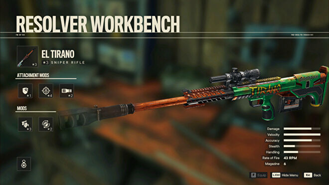 A screenshot of the Workbench screen in Far Cry 6 with El Tirano selected.