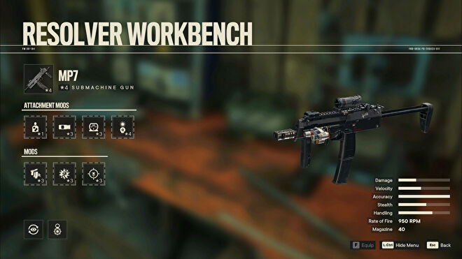 A screenshot of the Workbench screen in Far Cry 6 with the MP7 selected.