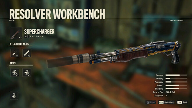 A screenshot of the Workbench screen in Far Cry 6 with Supercharger selected.