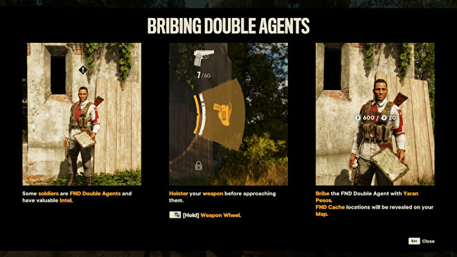 A tutorial in Far Cry 6 about bribing double agents.