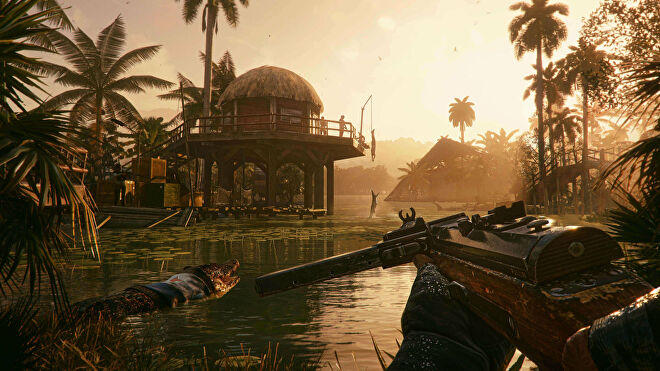 Far Cry 6: the player holds a crossbow while looking into a lake filled with crocodiles.