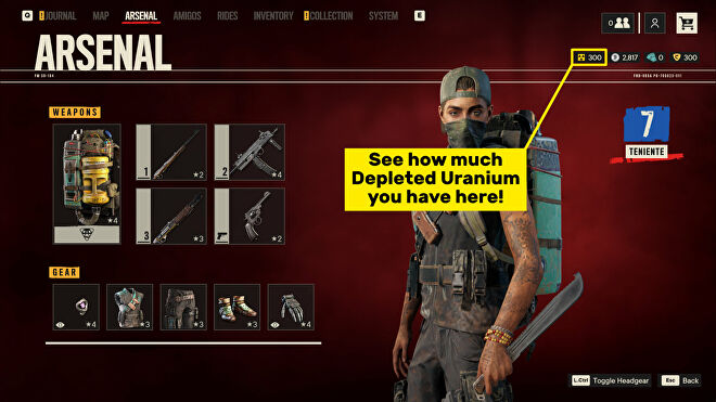 The Arsenal screen in Far Cry 6 with the Depleted Uranium counter highlighted.