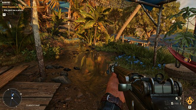 A puddle in Far Cry 6 showing the game's DXR reflections setting.