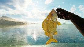 Far Cry 6: the player holds up a small yellow fish that they just caught.