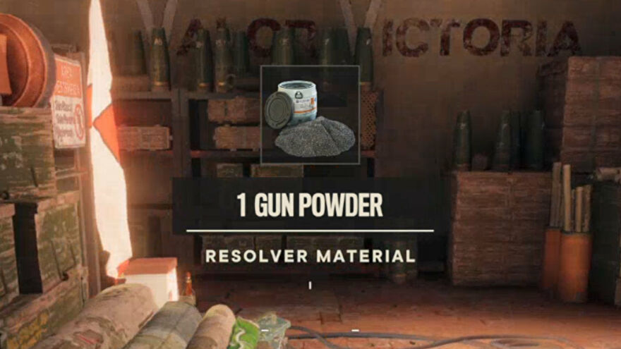 Far Cry 6: a pop-up in the centre of the screen indicates that the player has received 1 Gun Powder.