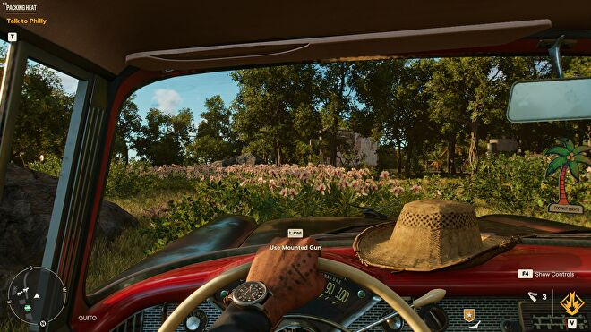 A car interior in Far Cry 6, with HD textures switched off.
