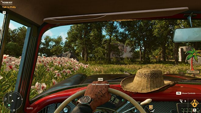 A car interior in Far Cry 6, with HD textures switched on.