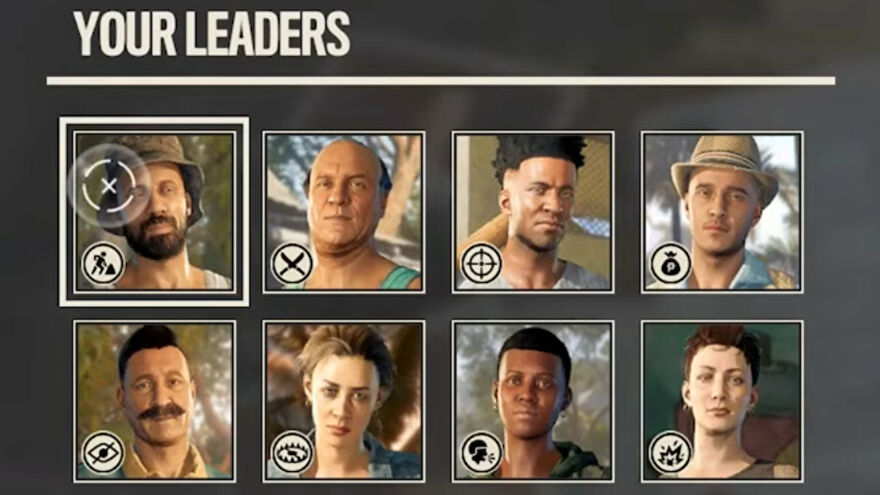A close-up screenshot of all the portraits of the different Bandido Leaders in Far Cry 6.