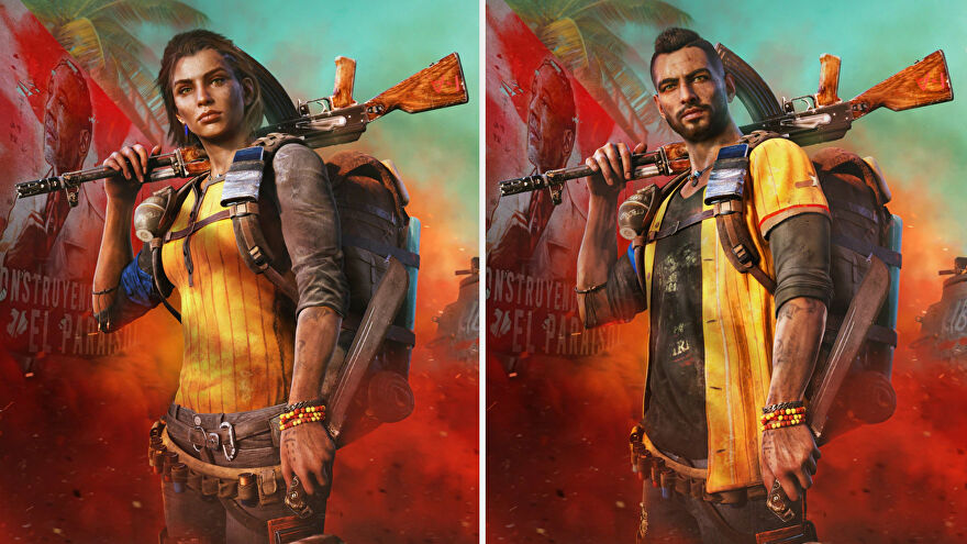 A side-by-side comparison of the male and female versions of Dani, the protagonist of Far Cry 6.