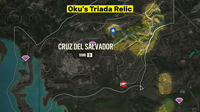 A screenshot of the Far Cry 6 map with the location of Oku's Triada Relic highlighted.