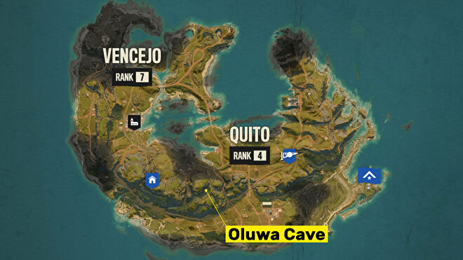 A screenshot of the Far Cry 6 map with the location of Oluwa Cave highlighted.