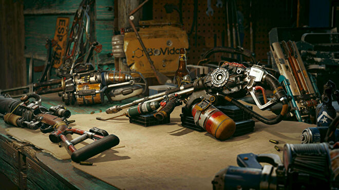 Far Cry 6: A close-up of the Resolver Weapons bench.